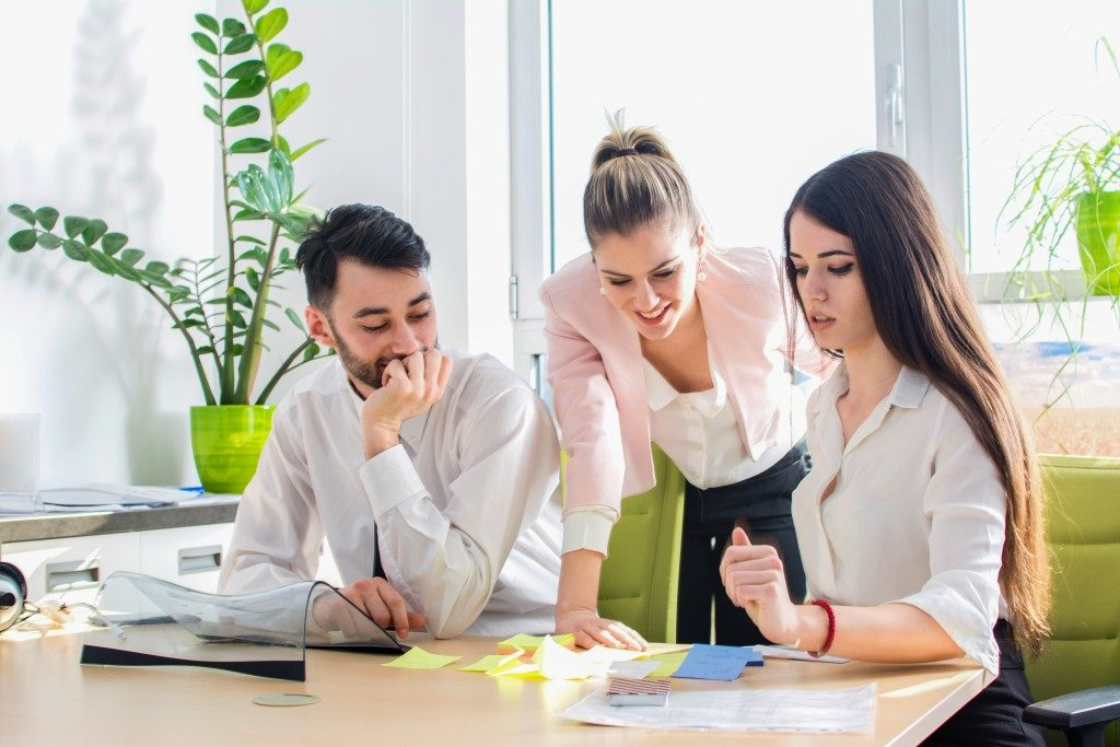 Three employees working in the office