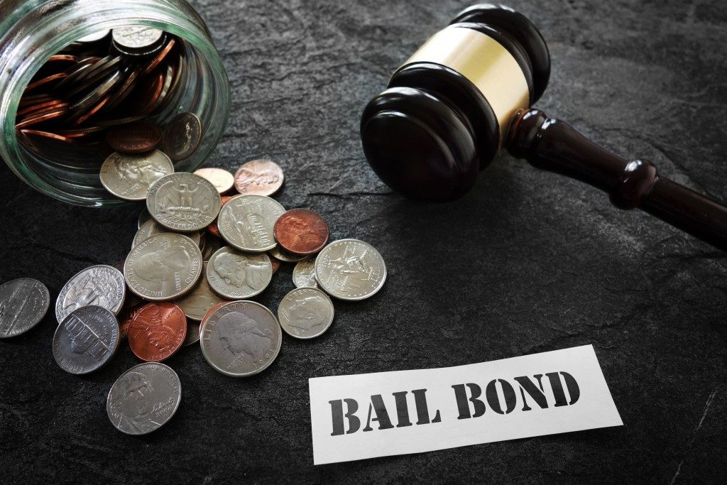 coins, gavel, and bail bond written on paper