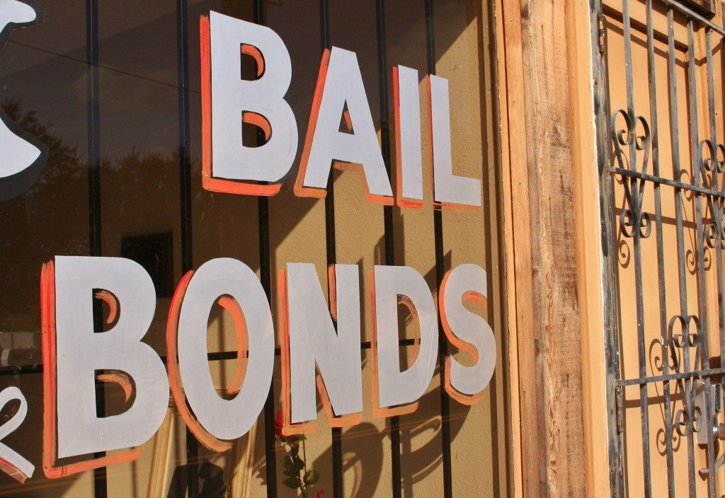 Bail bond sign on window