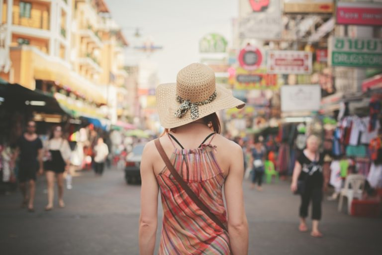 woman solo travelling in an asian country