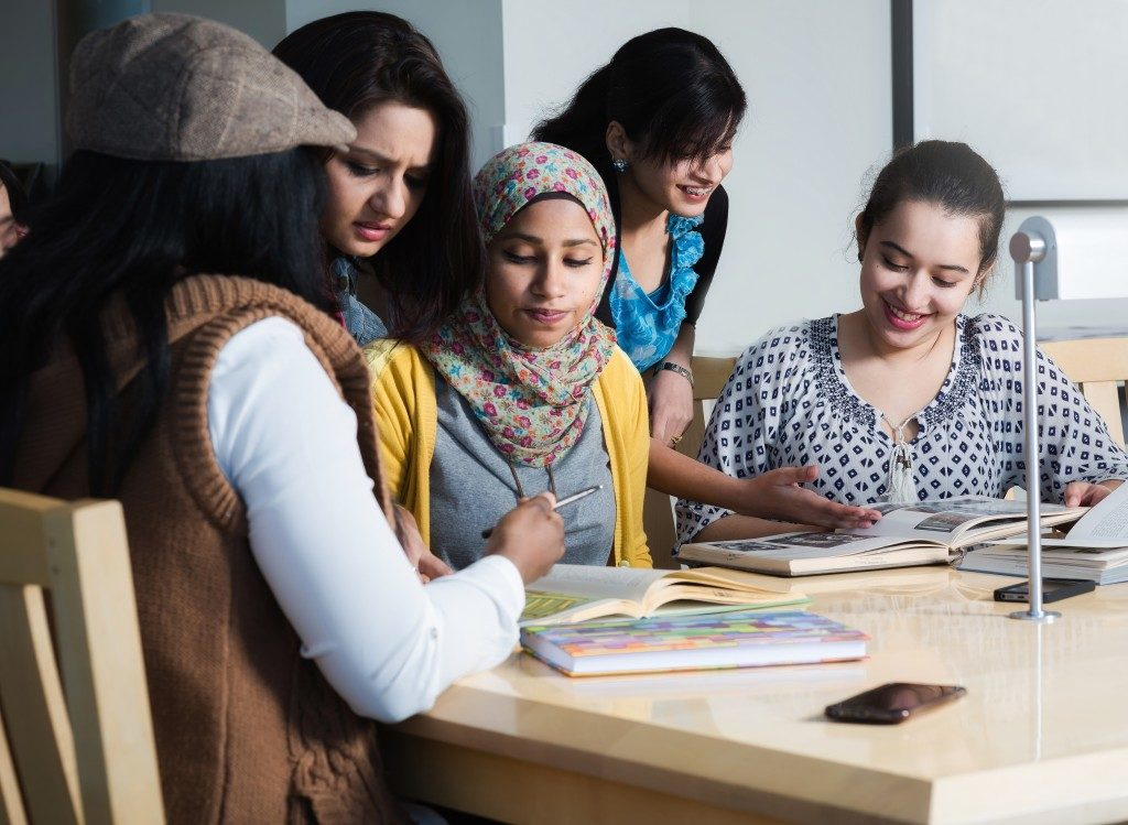 students having a group study