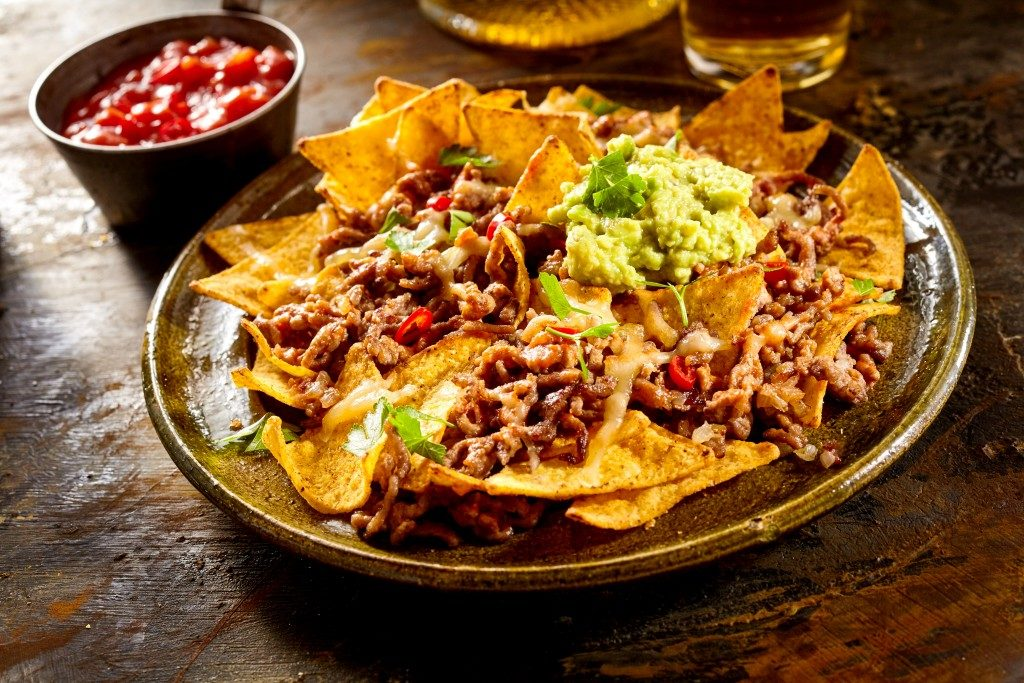 Nacho chips with toppings