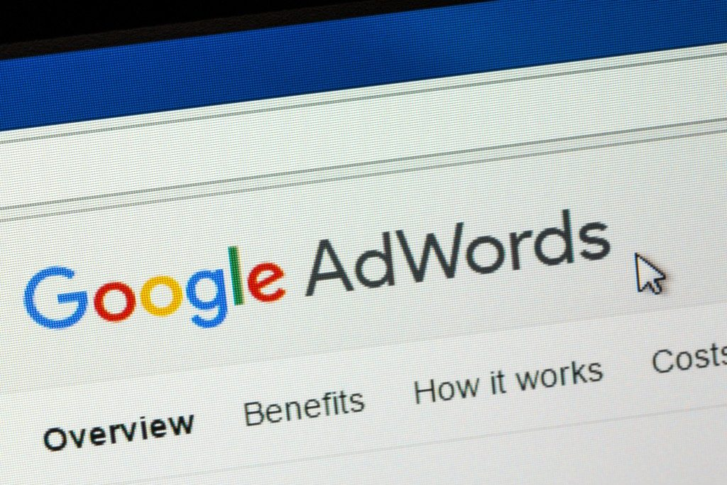 google adwords shown in a laptop screen