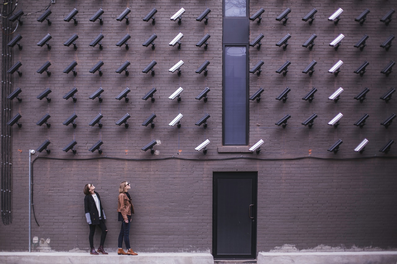 surveillance cameras pointing at 2 people