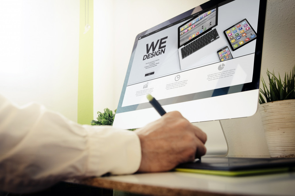 man designing a website